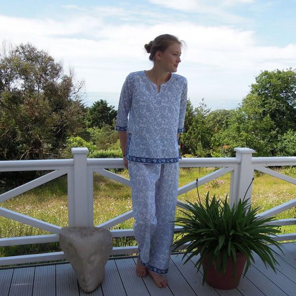 Blue and White Cotton Pyjamas