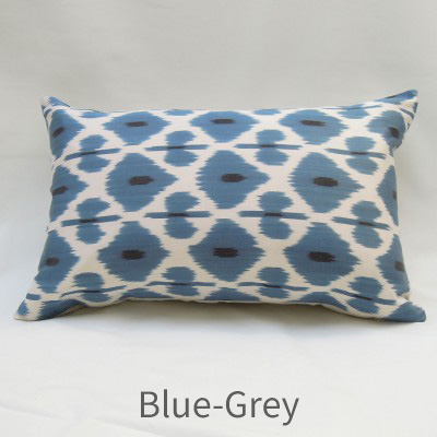 Blue grey silk ikat cushion