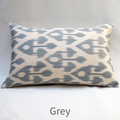 ikat cushion in grey silk