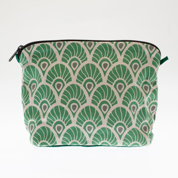 Green feather pattern canvas washrag. Flat bottomed to hold bottles.