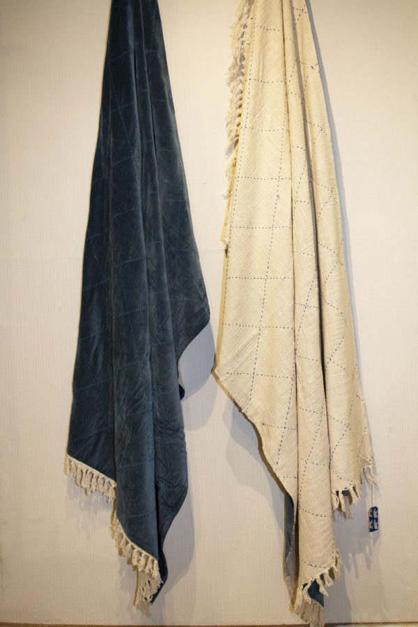 Petrol Blue velvet throw. Backed with natural white woven cotton and petrol blue stitch detail