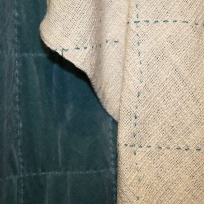 Cotton velvet throw in Teal. Backed with textured natural white cotton and Teal stitching