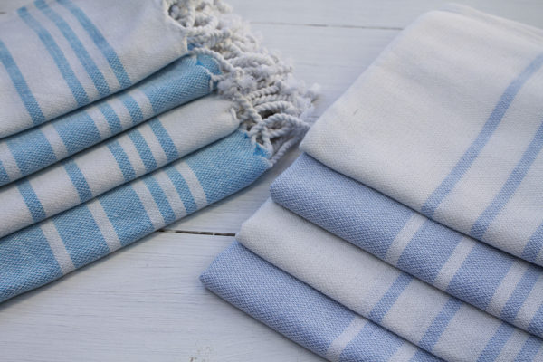 turkish towel blue and white