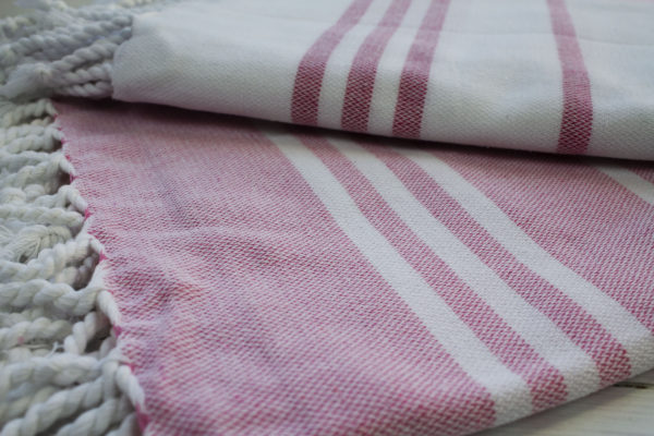 Turkish towel pink and white
