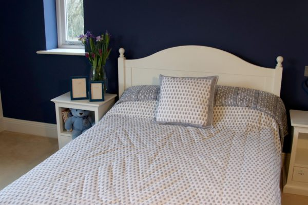 Blue and white block-printed quilt