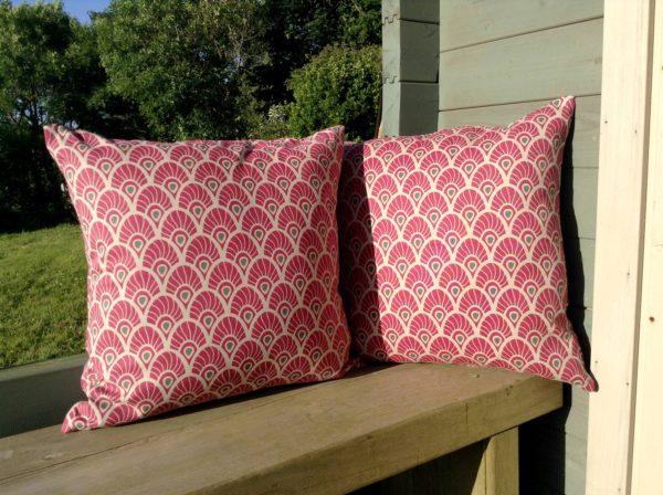 Pink fan cushion cover
