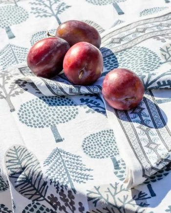 Blue and grey tree design block printed tablecloth on 100% pure white cotton