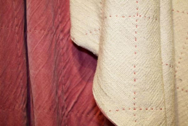 Rose Pink velvet throw. Backed with natural white woven cotton with Rose Pink stitching detail.