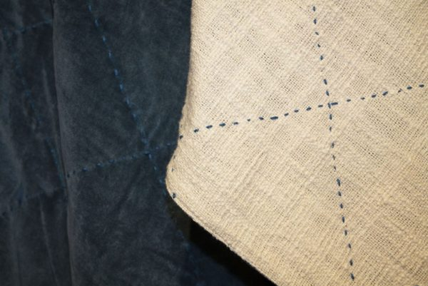 Petrol Blue velvet throw. Backed with natural white cotton and petrol blue stitching detail.