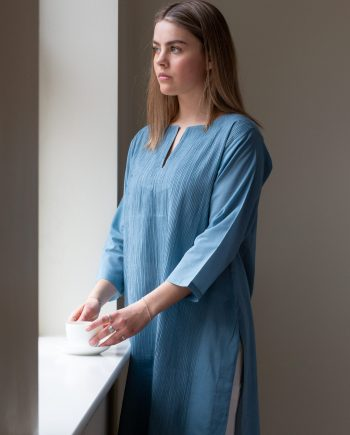 Teal blue ladies kurta with pintuck front