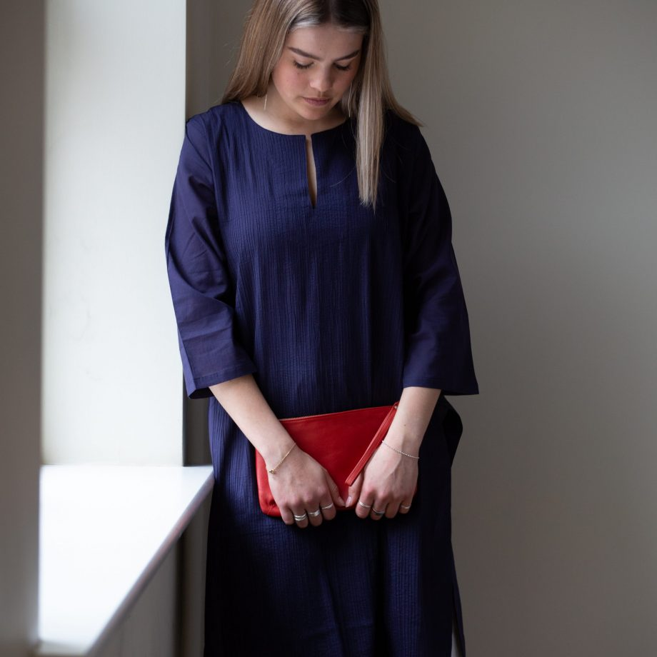 Classic navy ladies kurta with fully pin tucked front