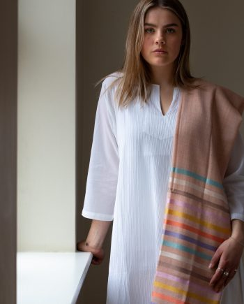Wool and silk scarf/shawl in warm rose marl with vibrant silk pastel stripes