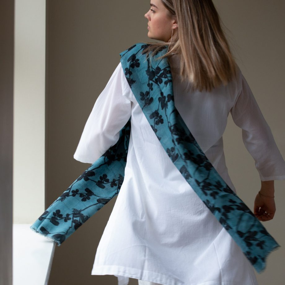 Wool and silk mix scarf - Blue with Black flower