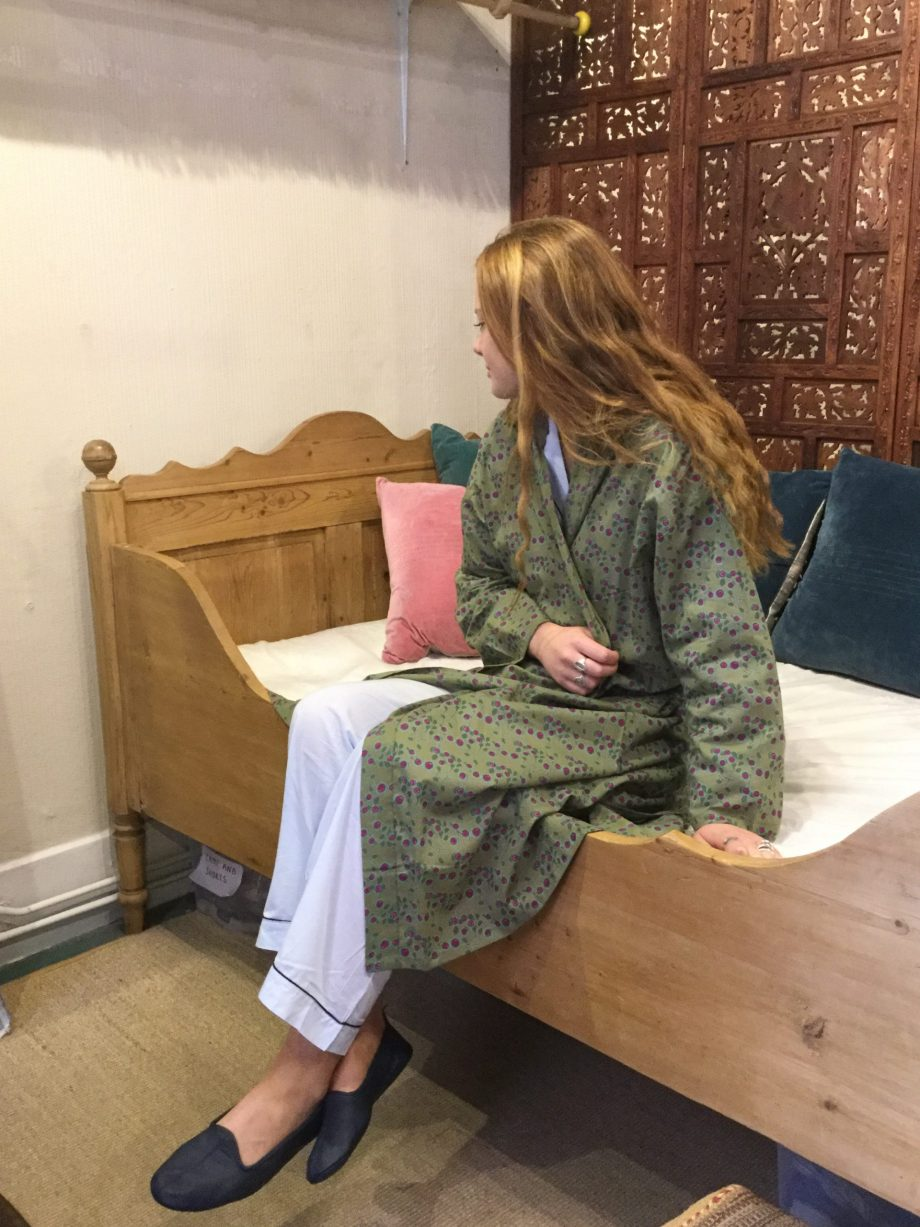 green dressing gown with berry